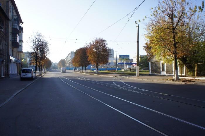 Трамвайная узкоколейка в центре Житомира