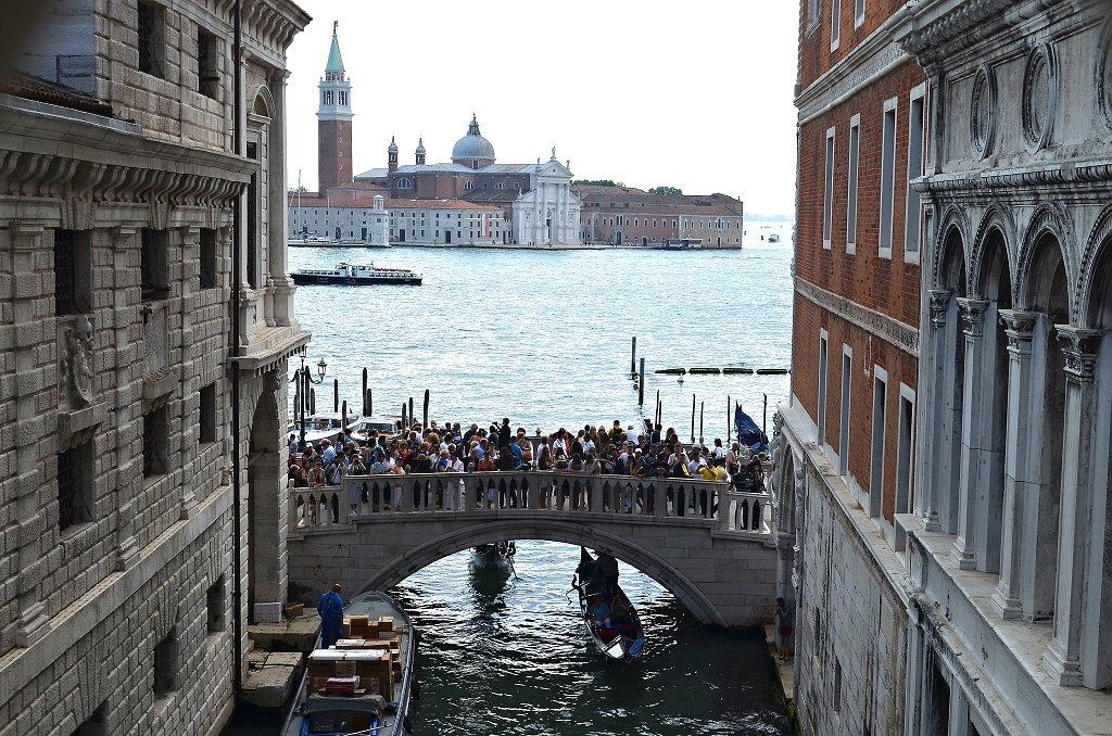 Prisoners' view from Bridge of Sighs, Venice, Veneto, Italy