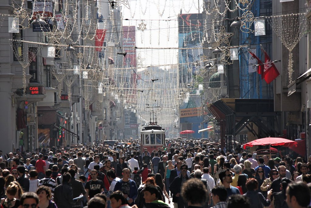 A busy day in Istiklal Street, Istanbul, Turkey